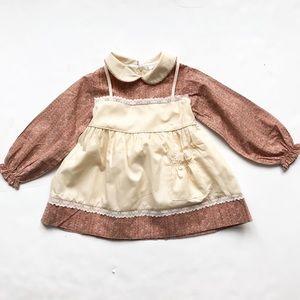 Vintage Mothers pet floral print apron dress 3T
